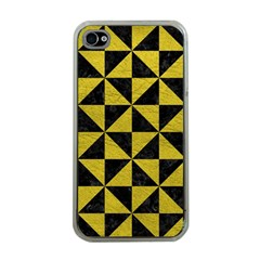 Triangle1 Black Marble & Yellow Leather Apple Iphone 4 Case (clear)