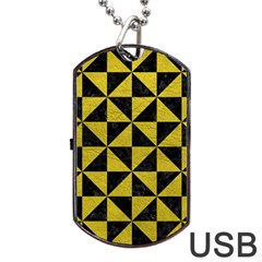 Triangle1 Black Marble & Yellow Leather Dog Tag Usb Flash (one Side)