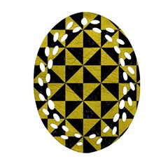 Triangle1 Black Marble & Yellow Leather Ornament (oval Filigree)
