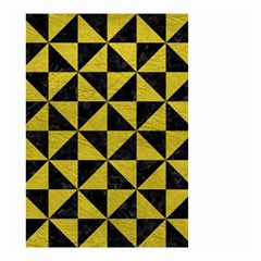 Triangle1 Black Marble & Yellow Leather Small Garden Flag (two Sides)