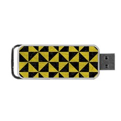 Triangle1 Black Marble & Yellow Leather Portable Usb Flash (one Side)