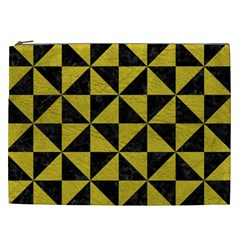 Triangle1 Black Marble & Yellow Leather Cosmetic Bag (xxl)