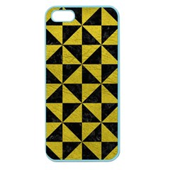 Triangle1 Black Marble & Yellow Leather Apple Seamless Iphone 5 Case (color)