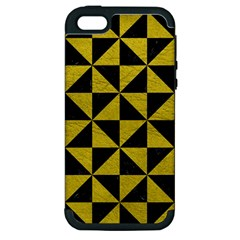 Triangle1 Black Marble & Yellow Leather Apple Iphone 5 Hardshell Case (pc+silicone)