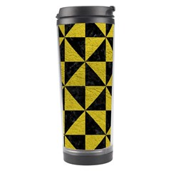 Triangle1 Black Marble & Yellow Leather Travel Tumbler