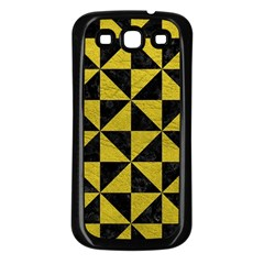 Triangle1 Black Marble & Yellow Leather Samsung Galaxy S3 Back Case (black)