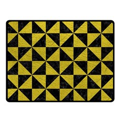 Triangle1 Black Marble & Yellow Leather Double Sided Fleece Blanket (small)