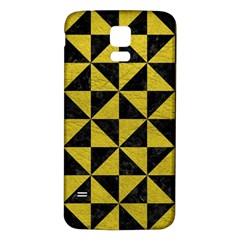 Triangle1 Black Marble & Yellow Leather Samsung Galaxy S5 Back Case (white)
