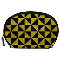 Triangle1 Black Marble & Yellow Leather Accessory Pouches (large)