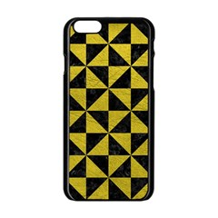 Triangle1 Black Marble & Yellow Leather Apple Iphone 6/6s Black Enamel Case