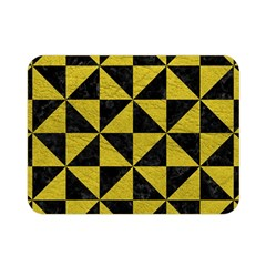 Triangle1 Black Marble & Yellow Leather Double Sided Flano Blanket (mini)