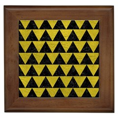 Triangle2 Black Marble & Yellow Leather Framed Tiles