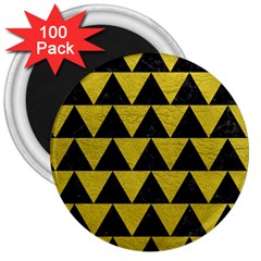 Triangle2 Black Marble & Yellow Leather 3  Magnets (100 Pack)