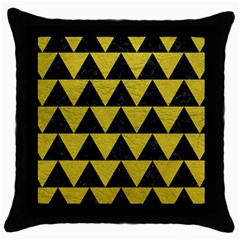 Triangle2 Black Marble & Yellow Leather Throw Pillow Case (black)