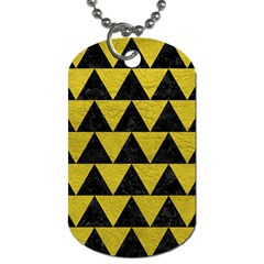 Triangle2 Black Marble & Yellow Leather Dog Tag (one Side)