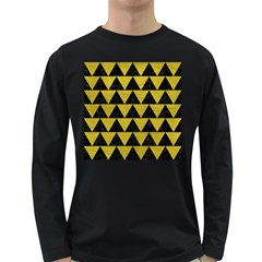 Triangle2 Black Marble & Yellow Leather Long Sleeve Dark T Shirts