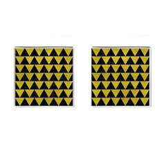Triangle2 Black Marble & Yellow Leather Cufflinks (square)
