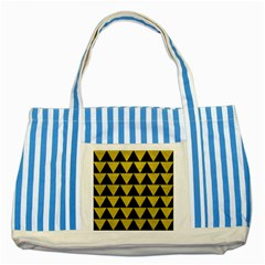 Triangle2 Black Marble & Yellow Leather Striped Blue Tote Bag