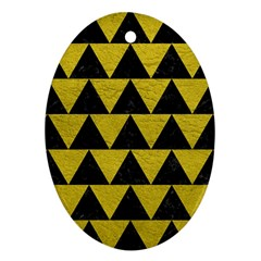 Triangle2 Black Marble & Yellow Leather Oval Ornament (two Sides)