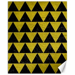 Triangle2 Black Marble & Yellow Leather Canvas 16  X 20