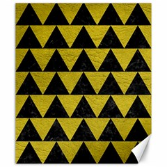 Triangle2 Black Marble & Yellow Leather Canvas 20  X 24