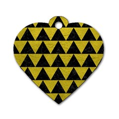 Triangle2 Black Marble & Yellow Leather Dog Tag Heart (one Side)