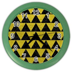 Triangle2 Black Marble & Yellow Leather Color Wall Clocks