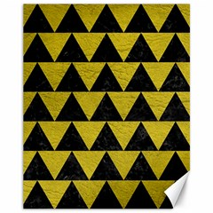 Triangle2 Black Marble & Yellow Leather Canvas 11  X 14