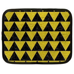 Triangle2 Black Marble & Yellow Leather Netbook Case (large)