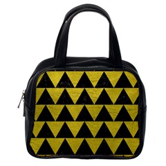 Triangle2 Black Marble & Yellow Leather Classic Handbags (one Side)