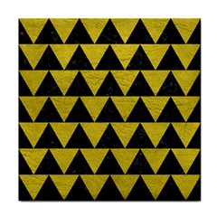Triangle2 Black Marble & Yellow Leather Face Towel