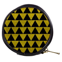 Triangle2 Black Marble & Yellow Leather Mini Makeup Bags