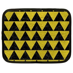 Triangle2 Black Marble & Yellow Leather Netbook Case (xl)