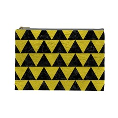 Triangle2 Black Marble & Yellow Leather Cosmetic Bag (large)