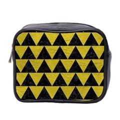 Triangle2 Black Marble & Yellow Leather Mini Toiletries Bag 2 Side