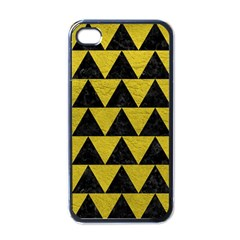 Triangle2 Black Marble & Yellow Leather Apple Iphone 4 Case (black)