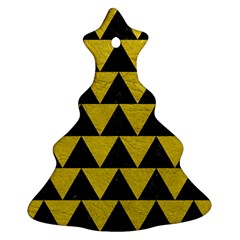Triangle2 Black Marble & Yellow Leather Christmas Tree Ornament (two Sides)