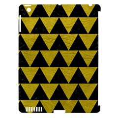 Triangle2 Black Marble & Yellow Leather Apple Ipad 3/4 Hardshell Case (compatible With Smart Cover)