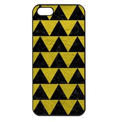 Triangle2 Black Marble & Yellow Leather Apple Iphone 5 Seamless Case (black)