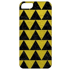 Triangle2 Black Marble & Yellow Leather Apple Iphone 5 Classic Hardshell Case