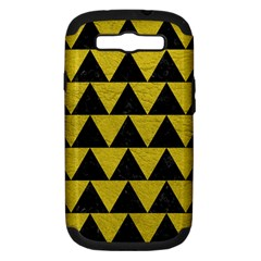 Triangle2 Black Marble & Yellow Leather Samsung Galaxy S Iii Hardshell Case (pc+silicone)