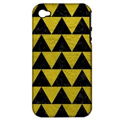 Triangle2 Black Marble & Yellow Leather Apple Iphone 4/4s Hardshell Case (pc+silicone)