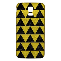 Triangle2 Black Marble & Yellow Leather Samsung Galaxy S5 Back Case (white)