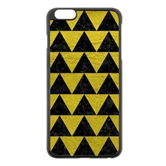 Triangle2 Black Marble & Yellow Leather Apple Iphone 6 Plus/6s Plus Black Enamel Case
