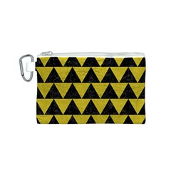 Triangle2 Black Marble & Yellow Leather Canvas Cosmetic Bag (s)