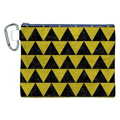 Triangle2 Black Marble & Yellow Leather Canvas Cosmetic Bag (xxl)
