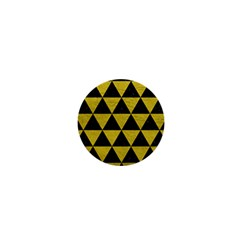 Triangle3 Black Marble & Yellow Leather 1  Mini Buttons