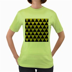 Triangle3 Black Marble & Yellow Leather Women s Green T Shirt