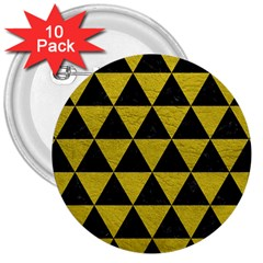 Triangle3 Black Marble & Yellow Leather 3  Buttons (10 Pack)