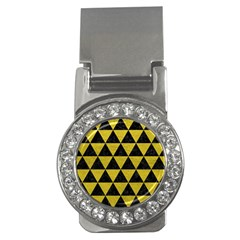 Triangle3 Black Marble & Yellow Leather Money Clips (cz)